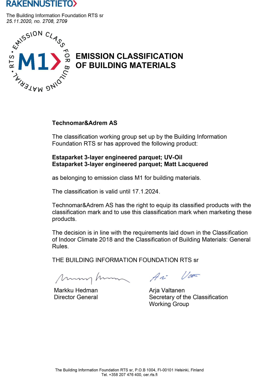 Technomar&Adrem AS 2708-2709 M1 Certificate